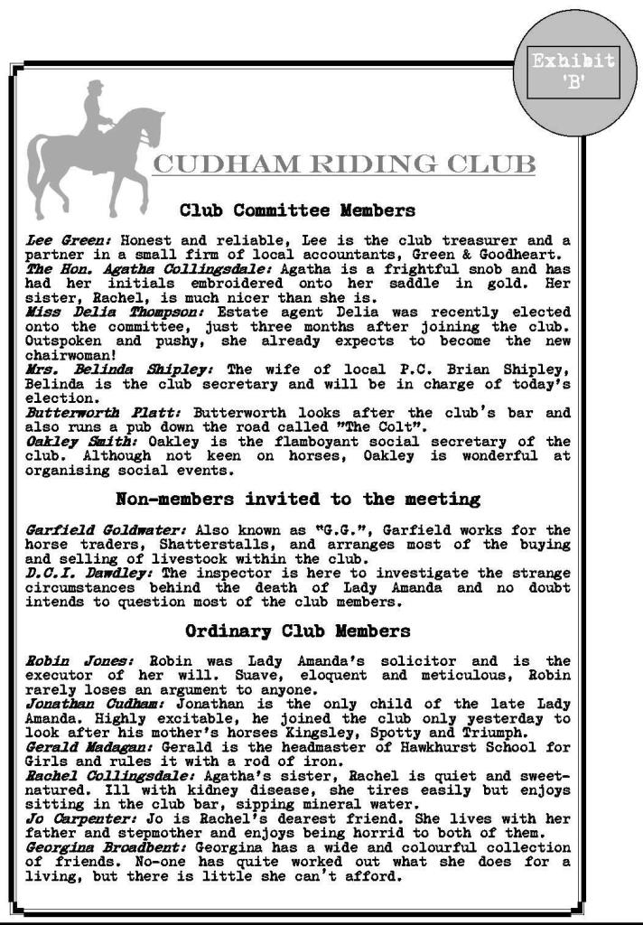Cudham Riding Club guest list Page 1
