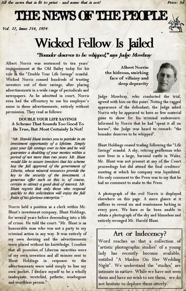 Farthingay Manor newspaper