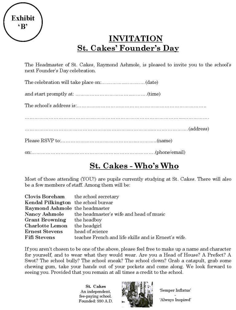 St. Cakes invite